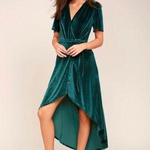 Lulu's Amour Teal Green Velvet Wrap Dress